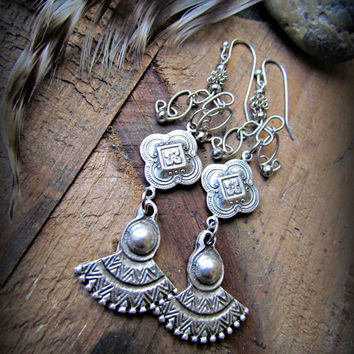 MOROCCAN Style GYPSY Bohemian Lotus Dangle Earrings~Artisan Silver Earrings~Unique & Beautiful Earrings~Women's Jewelry~Mdogstudios~