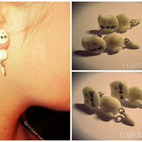 Front Back White Cat Earrings
