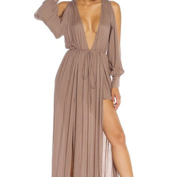 Rayon Drawstring Maxi Dress - Brown