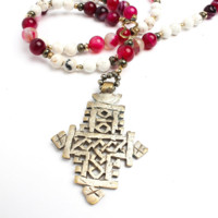 Eleni Beaded Cross Necklace