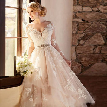 Hochzeitskleid 2017 Dreamy Wedding Dress with Appliques A-line  V-neck Full Sleeves Wedding Dresses Elegant Bride Gowns