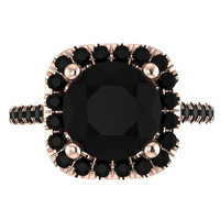 Halo Black Diamond Engagement Ring Wedding Ring 14K Rose Gold with 8mm Round Black Diamond Center - V1090