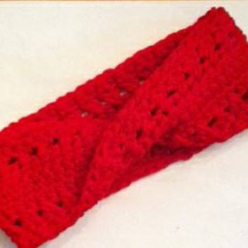 Ear Warmer In Twisted Red Is A Mobius Headband For Winter