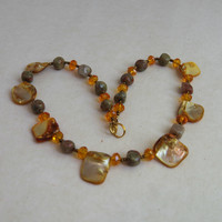 Short sparkling yellow necklace Natural mother of pearl autumn jasper Bright colorful bohemian jewelry OOAK unique handmade ALFAdesigns