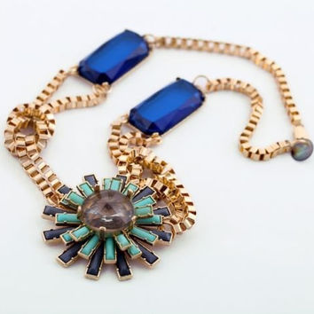 Blue/Turquoise Starburst Necklace