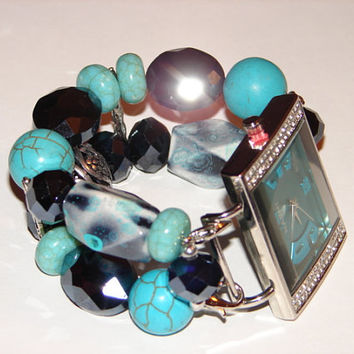 Turquoise and Midnight Blue Chunky Beaded Watch, Beaded Bracelet Watch, Chunky Watch, BeadsnTime, Interchangeable Watch