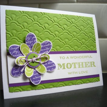 Handmade Mother's Day Card, Happy Mothers Day Greeting Card, Birthday Card for Mom