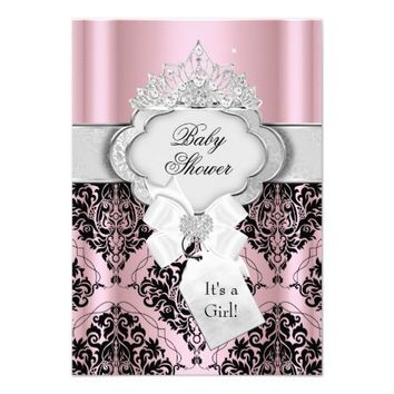 Damask & Tiara Princess Baby Shower Invitation