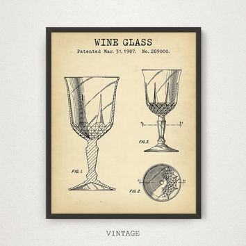 Wine Glasses, Wine Glass Patent Art, Digital Download, Bar Decor, Wine Poster Print, Kitchen Art Wine Gifts, Liquor Spirits Drinks Wall Art