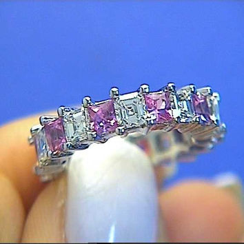 5.50ct Asscher Cut Diamond Pink Sapphire Eternity Ring 18kt White Gold JEWELFORME BLUE