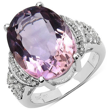 9.13 Carat Genuine Amethyst & White Topaz .925 Sterling Silver Ring