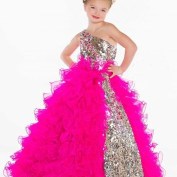 Cute Flower Girl Dresses Lovely Sequins Crystal Ruffles Girl's Pageant Gowns With One Shoulder