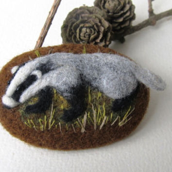 Reserve for Kim.Needle felted badger brooch.Felt Animals.Felt brooch.Gift for here.Valentines Gift.