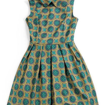 Green Circular Print Pointed Flat Collar Sleeveless Pleated Sheath Mini Dress
