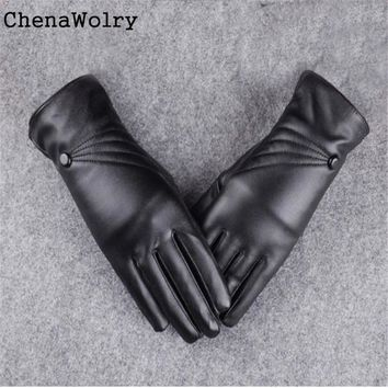 ChenaWolry 1Pair Women's Fashion With Luxurious Women Girl Leather Winter Super Warm Gloves Cashmere 2016 New Oct 12