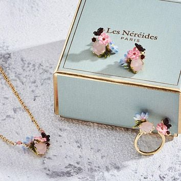 France  Les Nereides -  Pink Butterfly And Garden Enamel Glaze 4 Piece to choose from or Jewelry  Sets