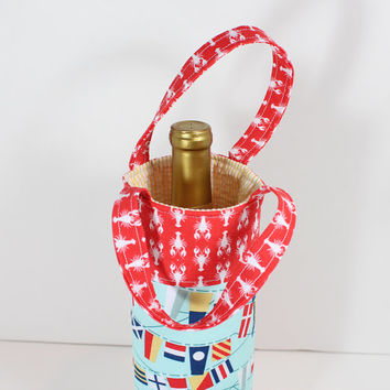 Wine Tote Padded Wine Bag with Lobster Fabric and Nautical Flags Great Hostess Gift