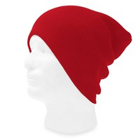 TopHeadwear Solid Color Long Beanie, Red