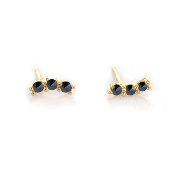 14kt Gold Black Diamond Curve Studs