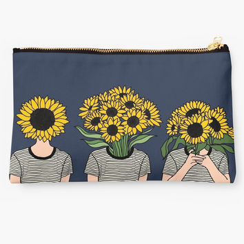 'Sunflower Humans' Studio Pouch by Priyanka Paul