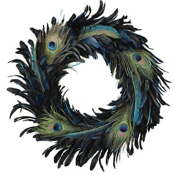 Peacock Feather Wreath - Faux Wreaths - Holiday | HomeDecorators.com