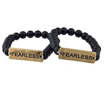Lux Accessories FEARLESS Black Beaded BFF Best Friends Matching Bracelet Set