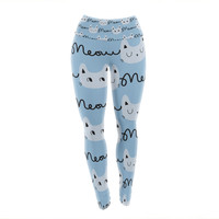 "Strawberringo ""Meow Meow"" Blue Cats Yoga Leggings"
