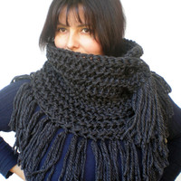 Fringe Charcoap Grey Ivy Cowl Super Soft Wool Neckwarmer Women Fashion Cowl Chunky Texture Cowlneck NEW