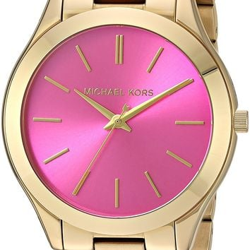 Michael Kors MK3264 Women's Slim Runway Gold-Tone Stainless Steel Bracelet Watch
