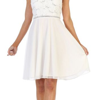 6189b612ce2 Off White Short Wedding Guest Dress with V-Neck