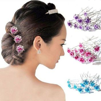 DCCKLW8 20PCS Bridal Wedding Crystal Diamante Rose Flower Hair Pin Clip Hair Accessories