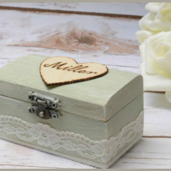 Personalized Mint RIng Box Wedding Rustic Shabby Chic Ring Holder Pillow Vintage