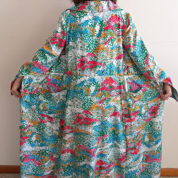 Vintage Bold Colorful Maxi Button Up Dress Jacket Robe Duster Hippie Boho Flowers