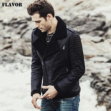 New men's Winter Genuine Leather Jacket with faux fur jacket male Real Leather Jacket