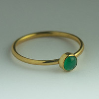 Gold Ring with Green Agate - Stackable 18K Gold dipped Sterling Silver Green Agate Ring