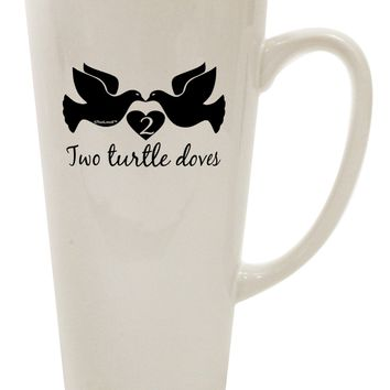 Two Turtle Doves Text 16 Ounce Conical Latte Coffee Mug