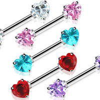 Double Front Facing Heart Nipple Barbell CZ Prong set 14ga 316L Surgical Steel Nipple Bar