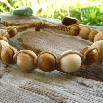Petrified Wood Beaded Shambella Bracelet / Mala Bracelet / Mens Beaded Adjustable Bracelet / Beaded Bracelet / Mens Mala Bracelet