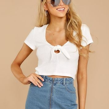 Held Dear White Crop Top