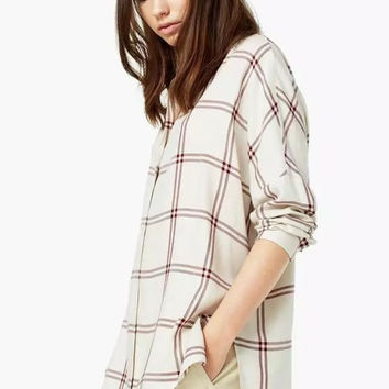 Summer Women's Fashion Cotton Plaid Blouse [6513237511]