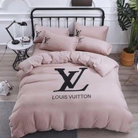 LOUIS VUITTON Home Blanket Quilt coverlet 2 Pillows Shams 4 PC Bedding Set