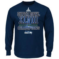 Seattle Seahawks Super Bowl XLVIII Champions Stacked Victory Long Sleeve T-Shirt - College Navy
