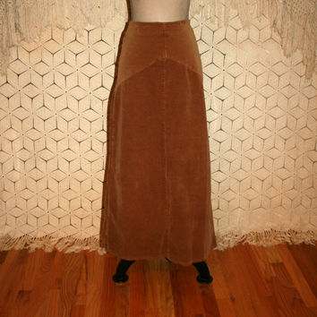 Brown Corduroy Maxi Skirt Fall Skirt Long Brown Skirt Small Size 6 Skirt Riding Skirt Western Skirt Country Boho Womens Vintage Clothing