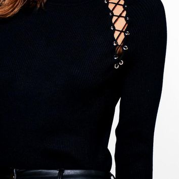 Jessica Lace Up Detail Rib Knit Jumper | Boohoo