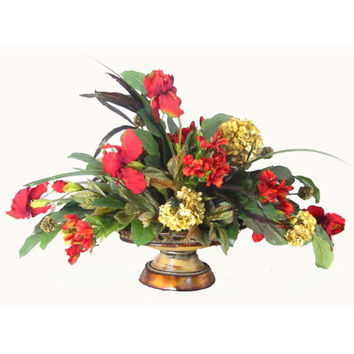 Creative Branch DR70724 Faux Iris and Hydrangea Centerpiece