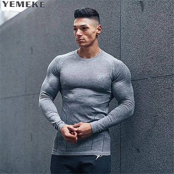 Men long sleeved t shirt cotton Slim fit gyms Fitness Bodybuilding workout Cross fit clothing male Casual fashion tee tops