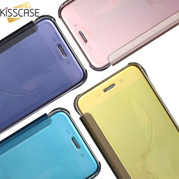 KISSCASE Case For iPhone 5s se iPhone 6s 6 7 Clear Mirror Flip Mobile Phone Accessories Cases For Samsung S6 S7 Edge Cover Coque