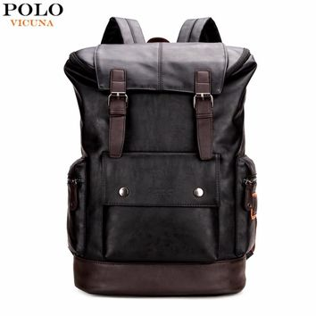 VICUNA POLO Simple Patchwork Large Capacity Men's Leather Backpack