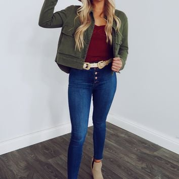 Meet Me There Jacket: Olive