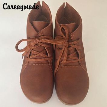 Careaymade-spring,Genuine leather shoes,Pure handmade ankle boot,The retro art mori girl shoes, Fashion retro boots ,2 color